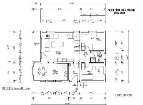 wohnfl chen berechnungsbeispiel mit baupl nen nachrechenbar. Black Bedroom Furniture Sets. Home Design Ideas