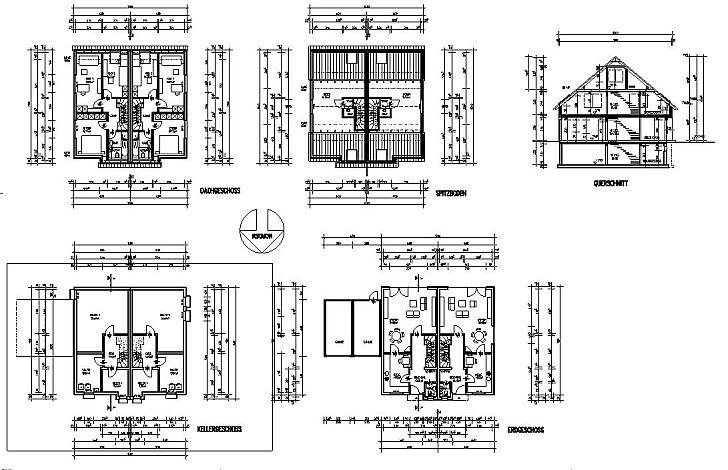 Grundriss haus bemaßung  Doppelhaus 114 m2 WF Bauplan mit Grundriss - Ansichten 1 geschossig