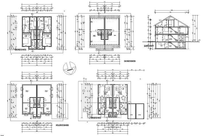 Grundriss haus bemaßung  Doppelhaus 128 m2 WF Bauplan mit Grundriss - Ansichten 2 geschossig