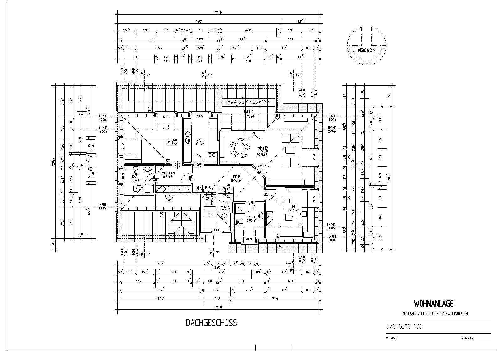 Grundriss haus bemaßung  Mehrfamilienhaus mit 7 Wohneinheiten 2 und 3-geschossig planen